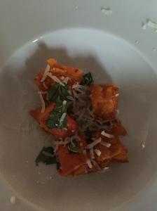 Kürbissalat (mit Limette, Chili und Koriander).