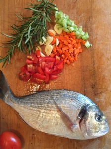 Pesce e verdure.